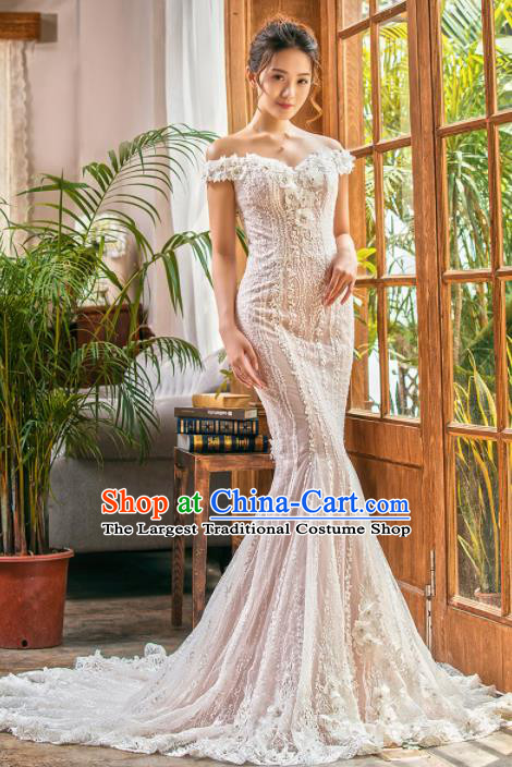 Top Grade Wedding Gown Bride Costume Lace Trailing Full Dress Princess Dress for Women