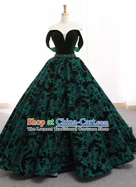 Top Grade Compere Green Embroidered Full Dress Princess Trailing Wedding Dress Costume for Women