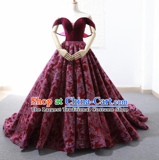 Top Grade Compere Wine Red Embroidered Full Dress Princess Trailing Wedding Dress Costume for Women