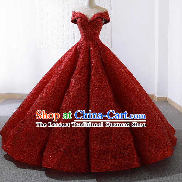 Top Grade Compere Embroidered Red Paillette Full Dress Princess Trailing Wedding Dress Costume for Women