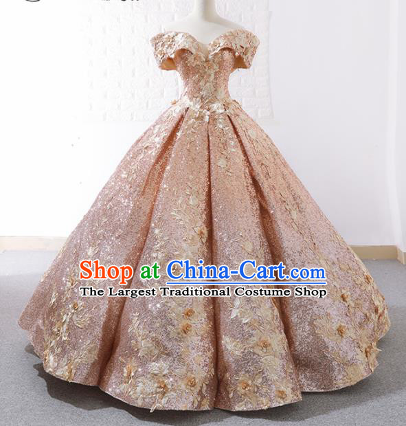 Top Grade Compere Embroidered Pink Full Dress Princess Bubble Wedding Dress Costume for Women