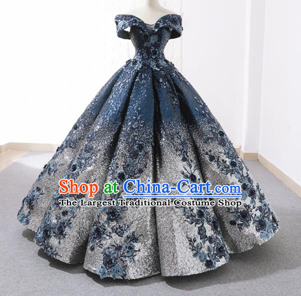 Top Grade Compere Embroidered Royalblue Paillette Full Dress Princess Bubble Wedding Dress Costume for Women