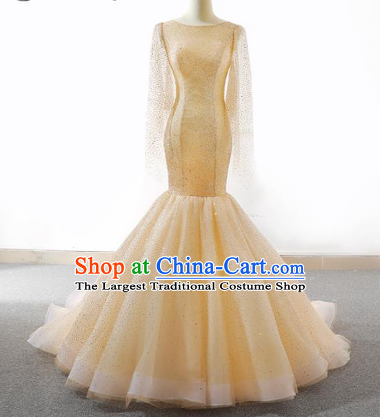 Top Grade Compere Champagne Paillette Full Dress Princess Veil Wedding Dress Costume for Women