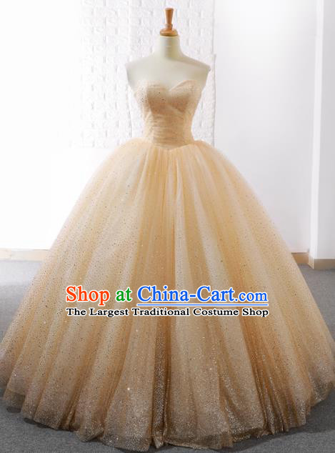 Top Grade Compere Champagne Paillette Bubble Full Dress Princess Veil Wedding Dress Costume for Women