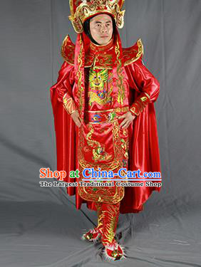 Chinese Traditional Sichuan Opera Embroidered Red Costume Face Changing Clothing Complete Set for Men