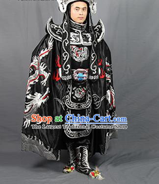 Chinese Traditional Sichuan Opera Embroidered Costume Face Changing Black Cloak and Clothing Complete Set for Men