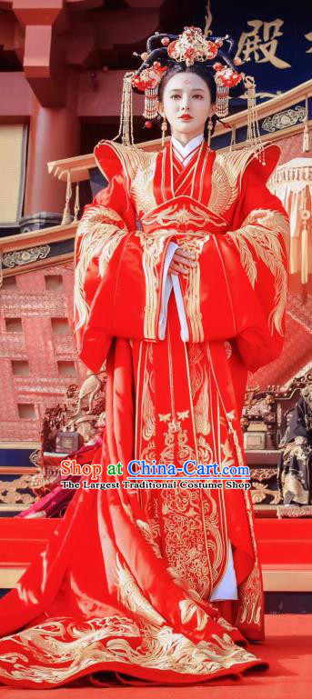 Traditional Chinese Tang Dynasty Crown Princess Wedding Hanfu Dress Ancient Queen Embroidered Costume and Headpiece Complete Set