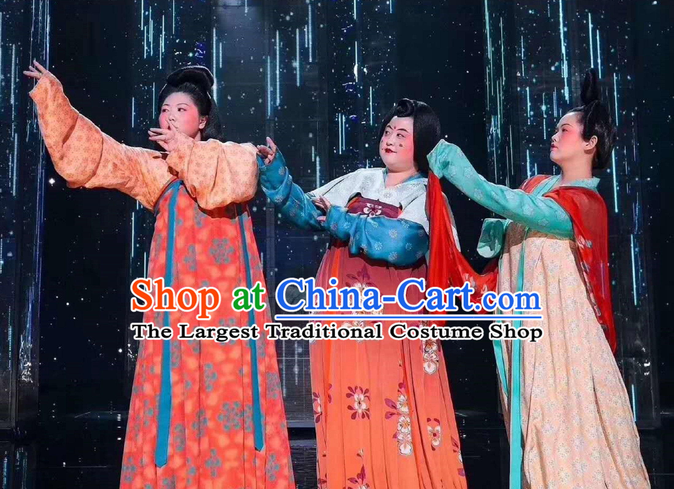 Ancient Chinese Tang Lady Costumes Dresses 3 Sets