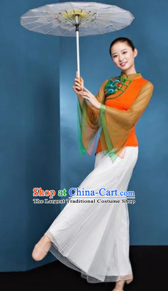 Chinese National Folk Dance Orange Costume Traditional Yangko Dance Fan Dance Clothing for Women