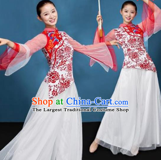 Chinese National Folk Dance Printing Red Peony Costume Traditional Yangko Dance Fan Dance Clothing for Women