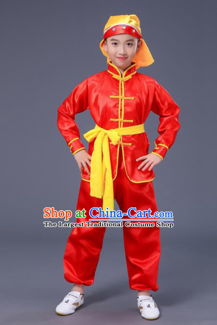 Chnese Traditional Folk Dance Costume Martial Arts Kung Fu Red Clothing for Kids