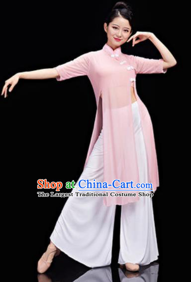 Chinese National Classical Dance Pink Costume Traditional Umbrella Dance Dress for Women