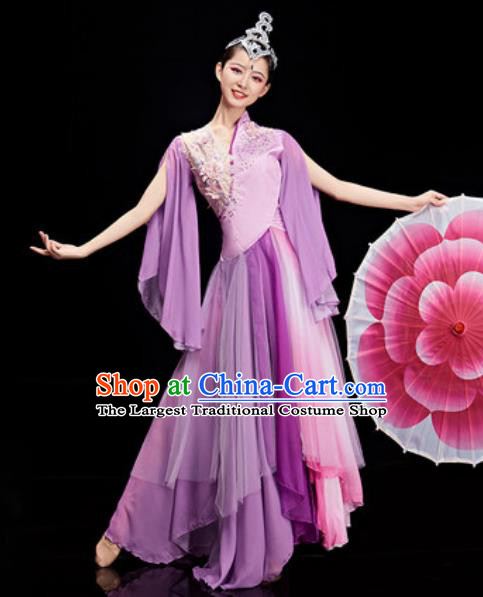 Chinese National Classical Dance Purple Costume Traditional Umbrella Dance Dress for Women