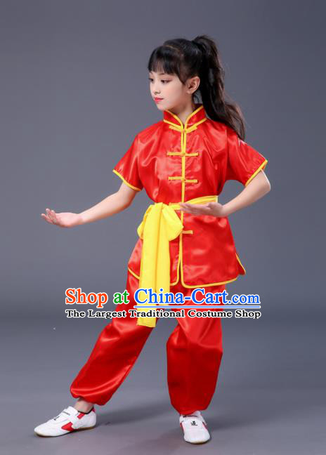 Chnese Traditional Folk Dance Short Sleeve Costume Martial Arts Kung Fu Red Clothing for Kids