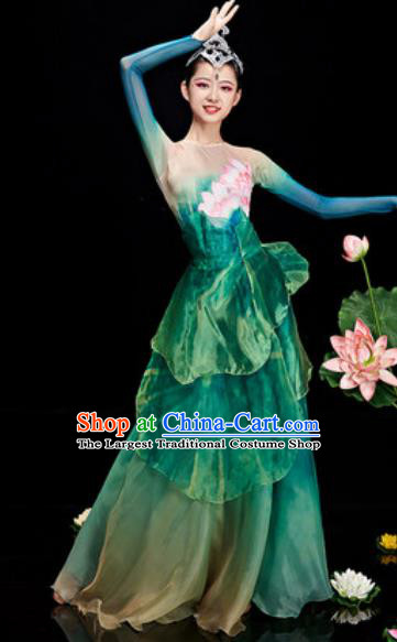 Chinese National Classical Dance Lotus Dance Green Costume Traditional Umbrella Dance Dress for Women