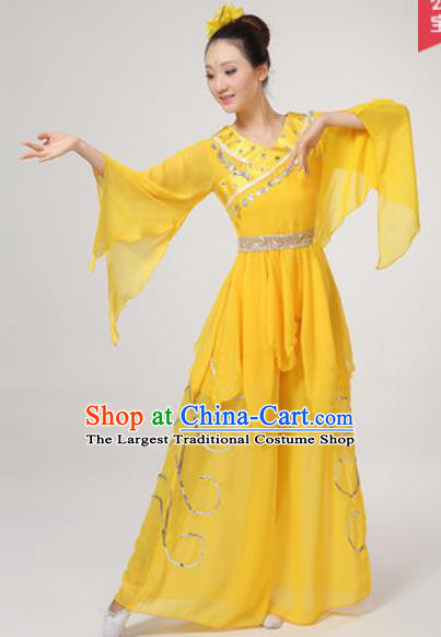 Chinese National Folk Dance Costume Traditional Yangko Dance Fan Dance Yellow Clothing for Women