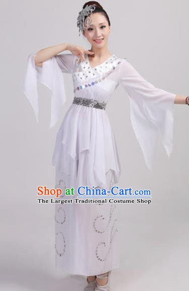 Chinese National Folk Dance Costume Traditional Yangko Dance Fan Dance White Clothing for Women