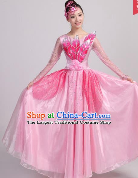 Chinese Traditional Spring Festival Gala Opening Dance Pink Veil Dress Modern Dance Costume for Women