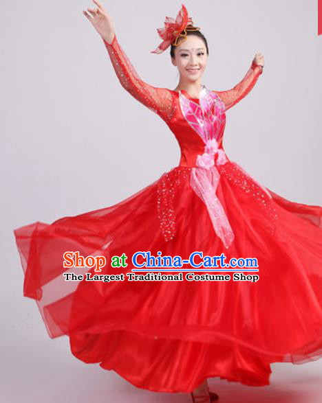 Chinese Traditional Spring Festival Gala Opening Dance Red Veil Dress Modern Dance Costume for Women