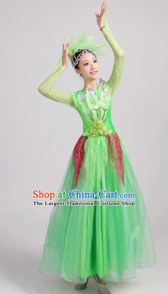 Chinese Traditional Spring Festival Gala Opening Dance Green Veil Dress Modern Dance Costume for Women