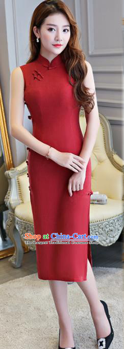 Asian Chinese Traditional Cheongsam Classical Tang Suit Red Qipao Dress for Women