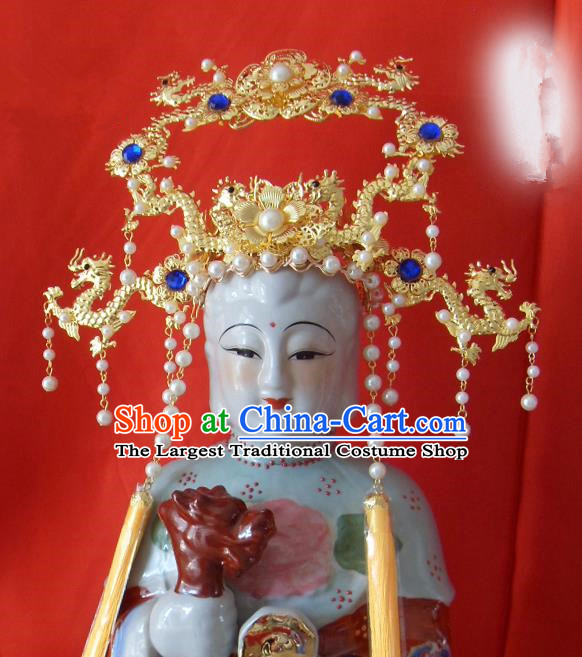 Chinese Traditional Goddess Hair Accessories Ancient Golden Dragons Phoenix Coronet for Women