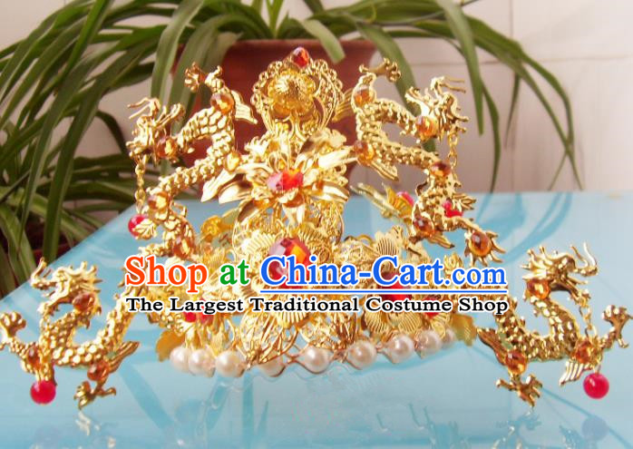 Chinese Traditional Goddess Hair Accessories Ancient Red Crystal Phoenix Coronet for Women