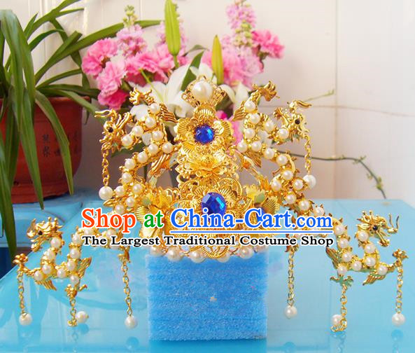 Chinese Traditional Goddess Hair Accessories Ancient Golden Dragons Tassel Phoenix Coronet for Women