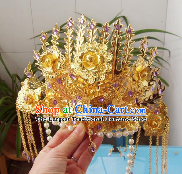 Chinese Traditional Goddess Hair Accessories Ancient Purple Crystal Phoenix Coronet for Women