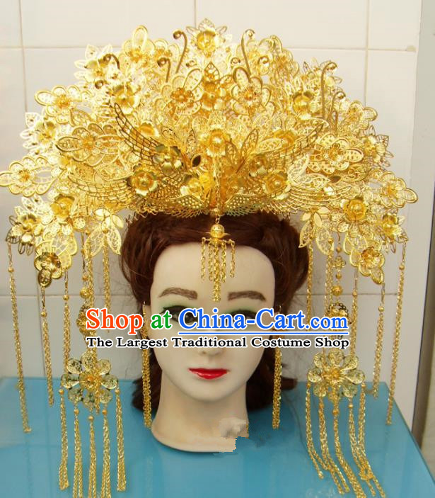Chinese Traditional Goddess Hair Accessories Ancient Princess Hairpins Golden Tassel Phoenix Coronet for Women