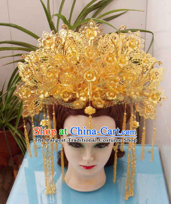 Chinese Traditional Goddess Hairpins Hair Accessories Ancient Princess Golden Tassel Phoenix Coronet for Women