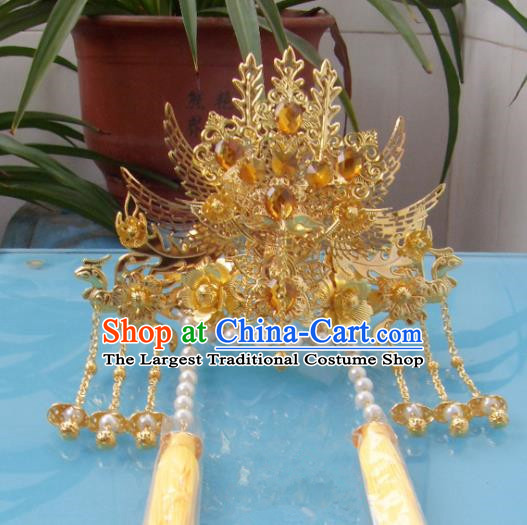 Chinese Traditional Goddess Yellow Crystal Phoenix Coronet Hairpins Ancient Princess Hair Accessories for Women