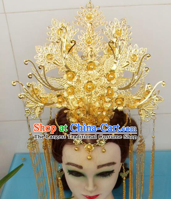Chinese Traditional Goddess Golden Flowers Phoenix Coronet Hairpins Ancient Princess Hair Accessories for Women