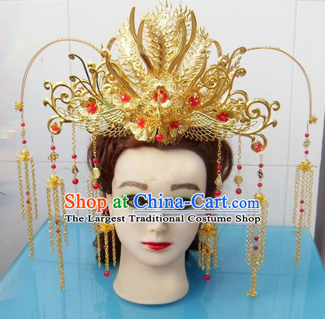 Chinese Traditional Goddess Tassel Phoenix Coronet Hairpins Ancient Princess Hair Accessories for Women