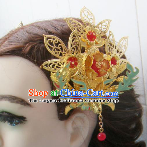 Chinese Traditional Goddess Golden Hairpins Ancient Queen Hair Accessories for Women