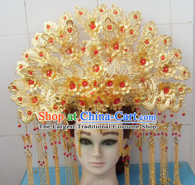 Chinese Traditional Goddess Golden Hairpins Phoenix Coronet Ancient Queen Hair Accessories for Women