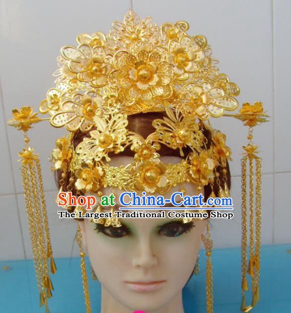 Chinese Traditional Goddess Hairpins Golden Phoenix Coronet Ancient Queen Hair Accessories for Women