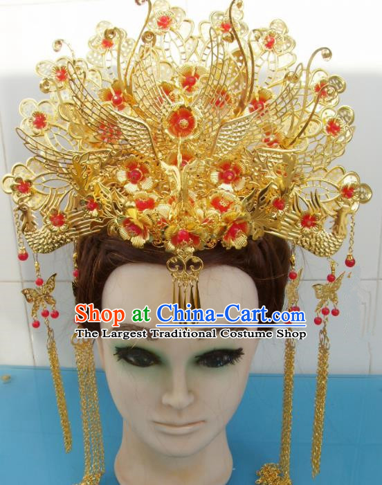 Chinese Traditional Goddess Hairpins Golden Tassel Phoenix Coronet Ancient Bride Hair Accessories for Women