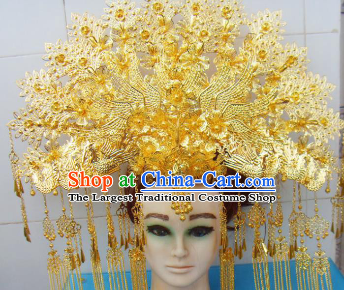 Chinese Traditional Goddess Hairpins Tassel Phoenix Coronet Ancient Bride Hair Accessories for Women