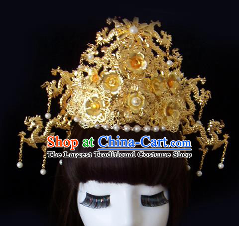 Chinese Traditional Goddess Hair Accessories Ancient Golden Phoenix Coronet for Women