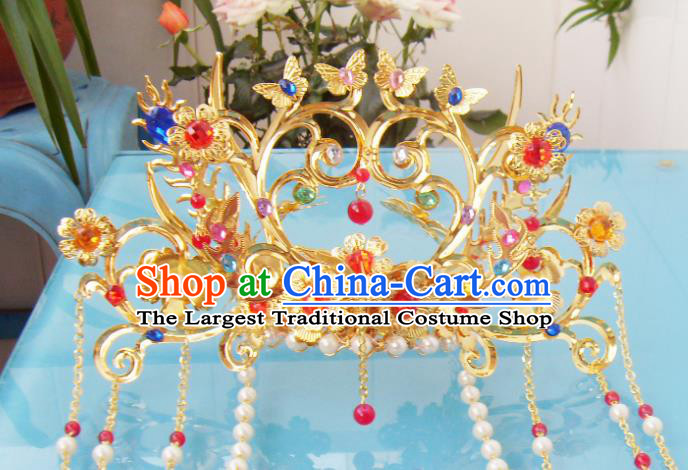Chinese Traditional Goddess Hair Accessories Ancient Golden Butterfly Phoenix Coronet for Women