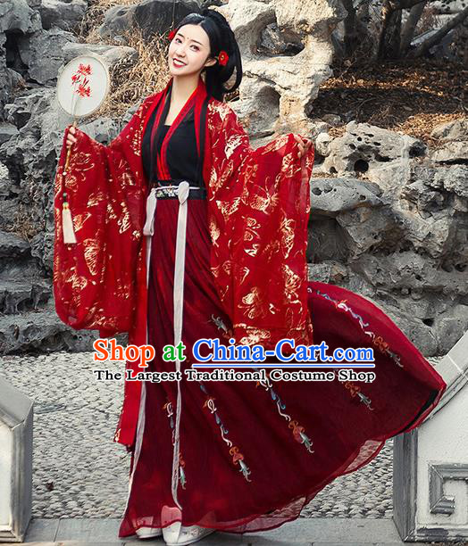 Chinese Traditional Red Hanfu Dress Ancient Tang Dynasty Princess Wedding Embroidered Costume for Women