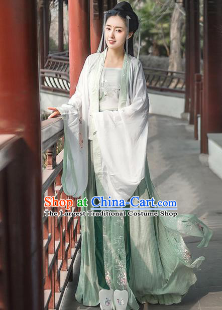 Chinese Traditional Green Hanfu Dress Ancient Song Dynasty Princess Embroidered Costume for Women