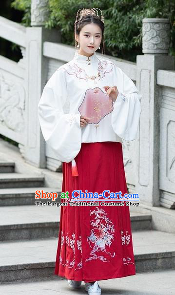 Chinese Traditional Red Hanfu Dress Ancient Ming Dynasty Princess Embroidered Costume for Women