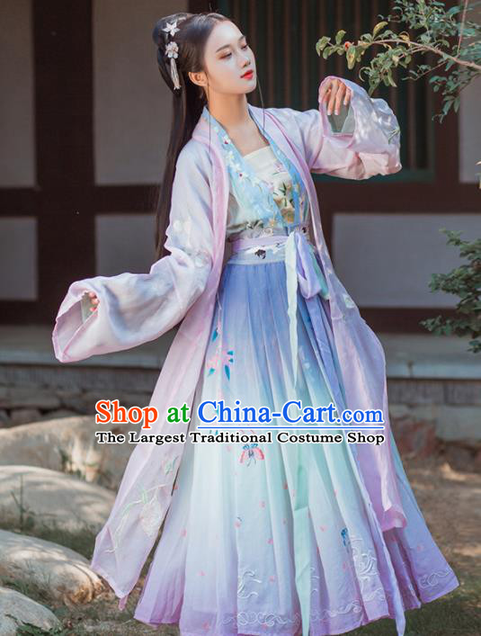 Chinese Traditional Hanfu Dress Ancient Tang Dynasty Palace Princess Embroidered Costume for Women