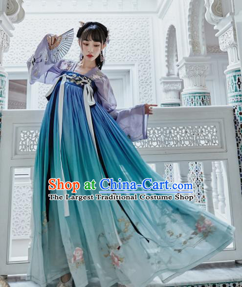 Chinese Traditional Tang Dynasty Court Princess Blue Hanfu Dress Ancient Peri Embroidered Costume for Women