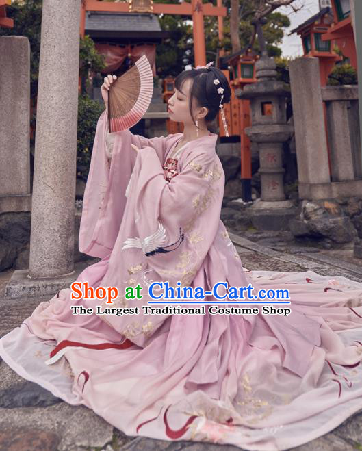 Chinese Traditional Song Dynasty Pink Hanfu Dress Ancient Palace Princess Embroidered Costume for Women