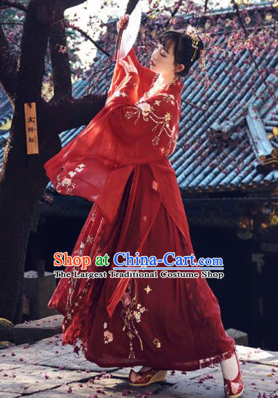 Chinese Traditional Tang Dynasty Wedding Red Hanfu Dress Ancient Court Princess Embroidered Costume for Women