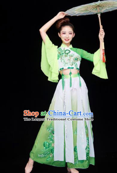 Chinese National Classical Dance Dress Traditional Lotus Dance Umbrella Dance Green Costume for Women