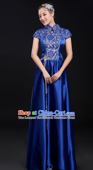 Chinese Traditional Chorus Royalblue Dress Opening Dance Modern Dance Costume for Women